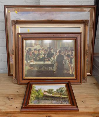 Selection of 7 vintage prints + oil on canvas, incl. Claude Monet