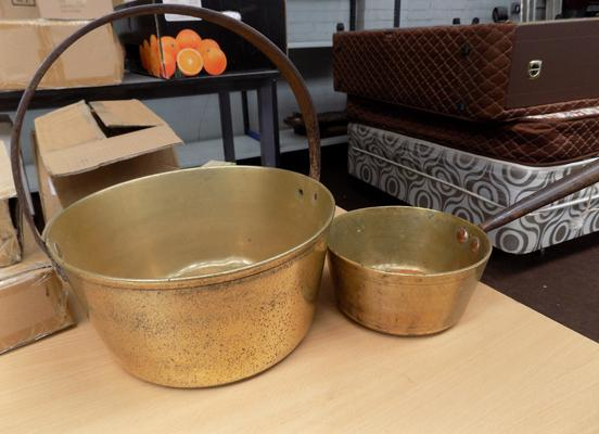Brass jam pan and one other