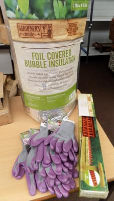 5 pairs of Briers gloves, roll of new insulation and new anti-pest spike