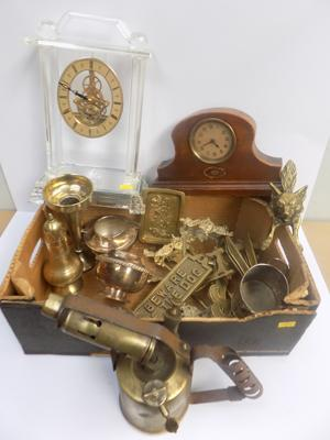 Box of brass, metal-ware and clocks