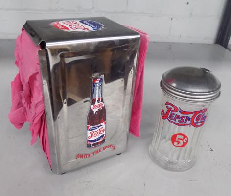 Pepsi napkin dispenser and sugar shaker