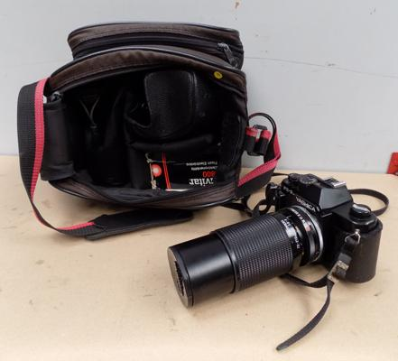 Yashica FX-3 camera + lens/flash/bag