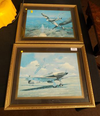 Two Mike Delaney RAF framed pictures, vintage 1985