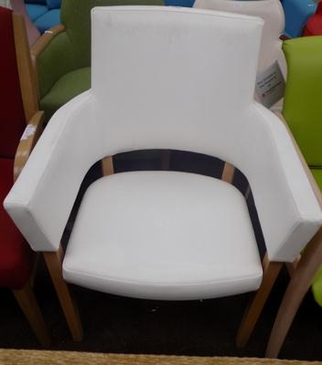 White high back arm chair
