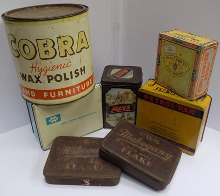 Selection of vintage tins, incl Cobra