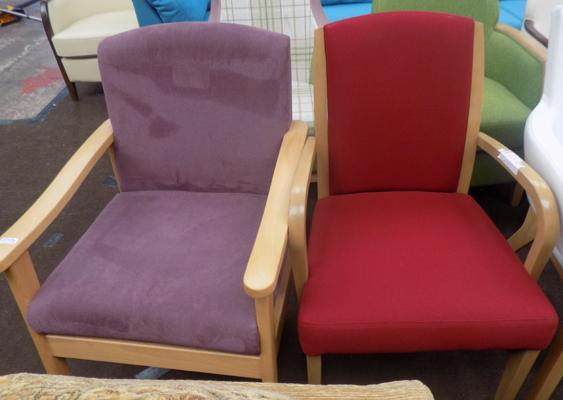 One red arm chair & 1 purple arm chair
