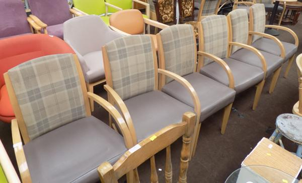 Six chequered backed chairs