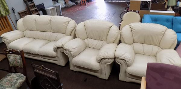 Three seater italian leather cream sofa and 2 chairs