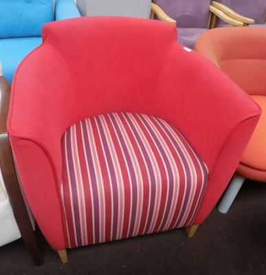 Red stripey tub chair