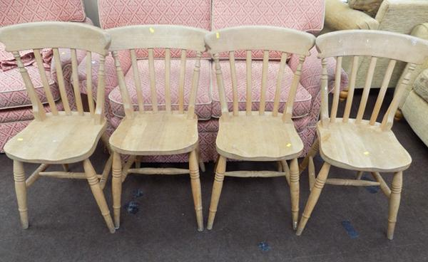 4 pine farm house chairs