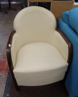 Cream & dark oak tub chair