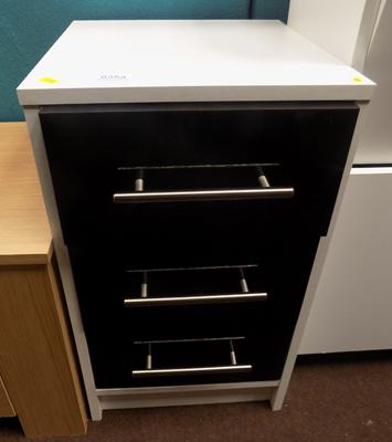 Three drawer small cabinet with black gloss drawers