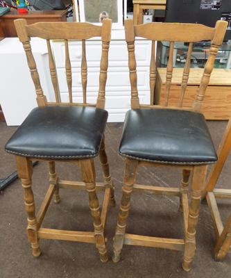 Two oak bar stools