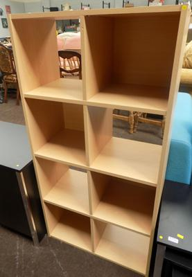 Eight cube teak effect storage unit