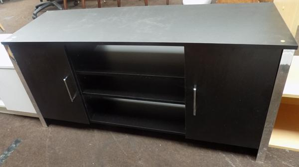 Black ash effect low sideboard with side clipboards & centre shelves