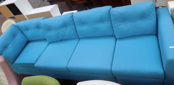Multi-positional blue sofa