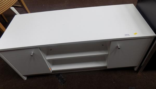 White entertainment unit with side cupboard