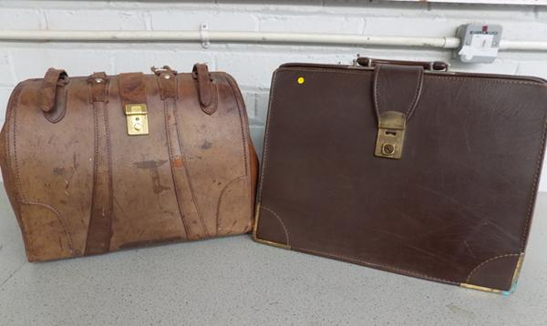 2 pure leather briefcases - 1 handle in case needs pin