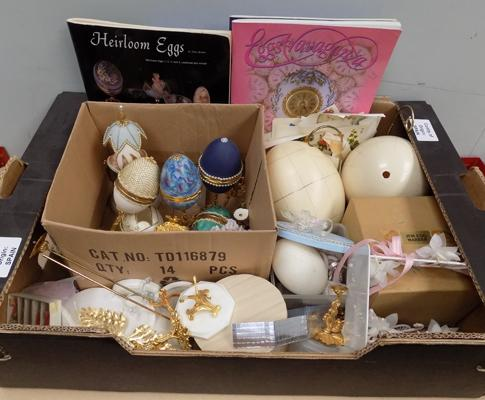 Box of mixed craft items incl. egg shells etc.