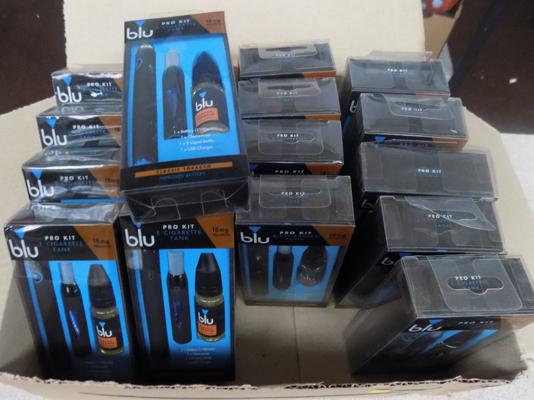 Box of blu e-cig kits