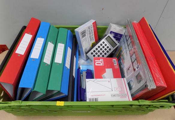 Large box of new stationary incl. envelopes, folders, ring-binders etc.