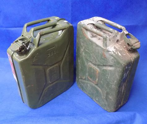 Two cameo green petrol cans
