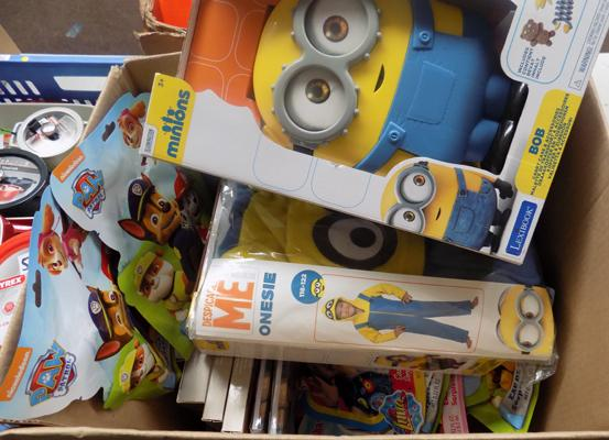 Box of new toys, incl. Minions