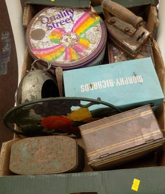 Box of mixed tins & others