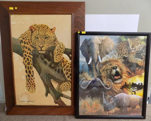 Two wildlife pictures, one 1960's, signed by Eric Tenney
