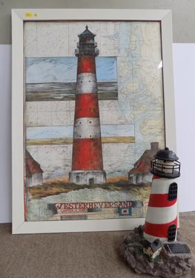 Framed lighthouse picture & model