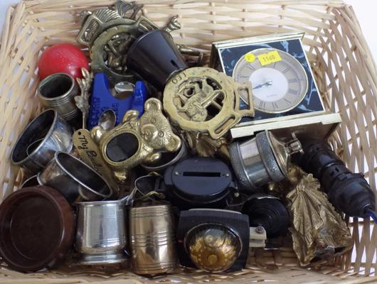 Basket of collectables incl. brass ware, napkin rings, lighters, clocks etc.