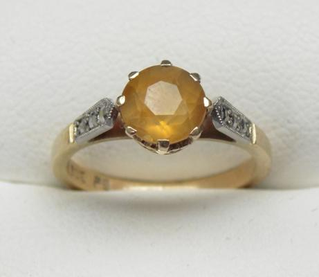 9ct gold citrene stone ring - art deco style, approx. size J1/2