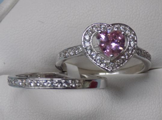 925 pink heart stacker ring, set of 2 (size S)