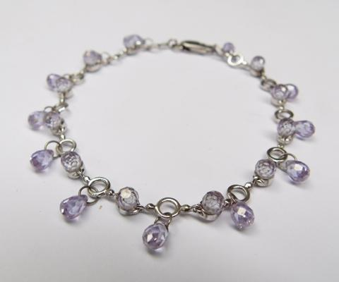 "925 silver and amethyst bracelet 8"" long"