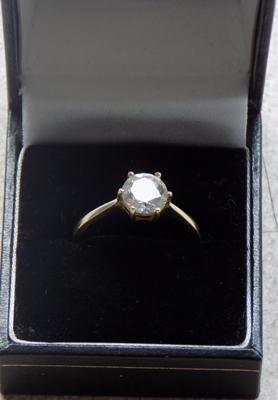 Hallmarked 14ct clear stone solitaire ring approx. size U - 585 QVC Sheffield