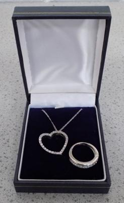 18ct white gold necklace and ring