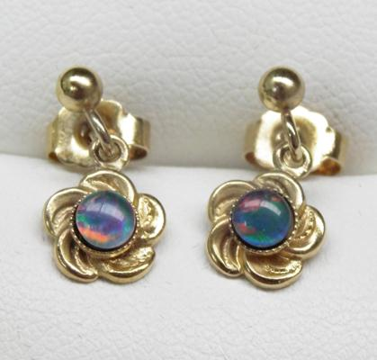 Pair of 9ct gold and opal drop earrings