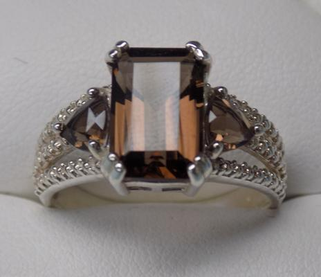 925 smokey quartz ring, size V