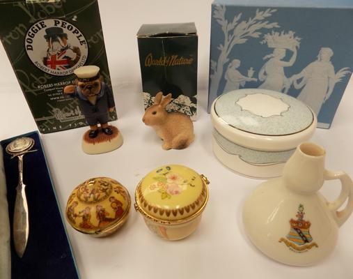 Selection of ceramics, incl. rabbit, pug & puppy + Wedgewood trinket box
