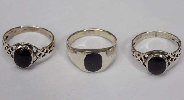 Three 925 silver black onyx rings