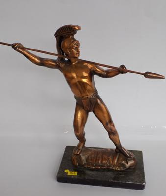 Large copper warrior figure on marble base - 13""