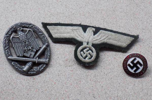 2 Nazi repro badges and 1 Nazi repro patch