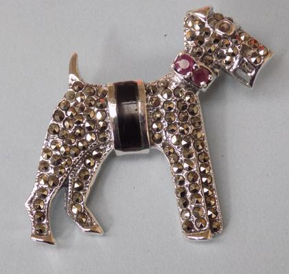 Silver & marcasite dog brooch