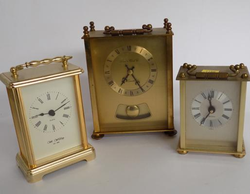 3 brass carriage clocks - all battery operated