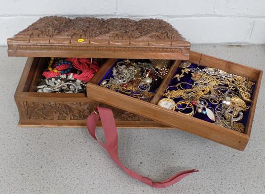 Indian jewellery box and costume jewellery (key in office)