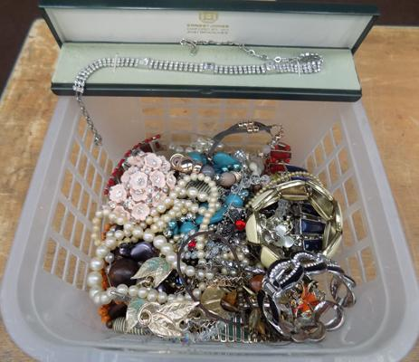 Basket of costume jewellery