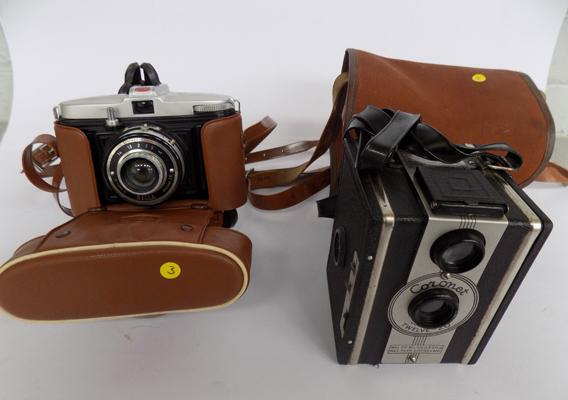 Two vintage cameras, Bilora + Cozonet box camera