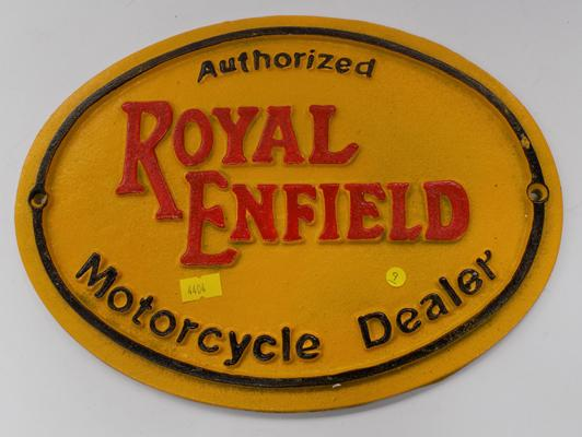 Cast iron Royal Enfield oval sign