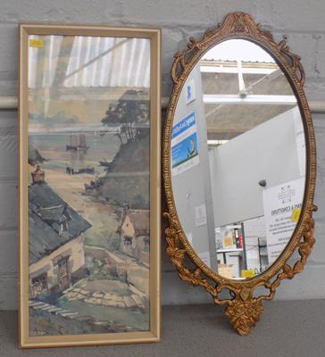 Vintage framed mirror & framed print