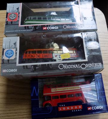 Two Corgi trams & one London bus